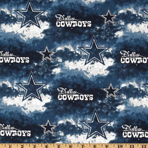 NFL Broadcloth Dallas Cowboys Blue/White 100% Cotton Print Fabric
