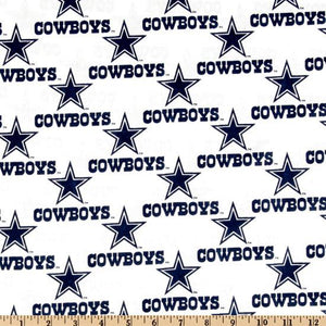 NFL Broadcloth Dallas Cowboys White 100% Cotton Print Fabric
