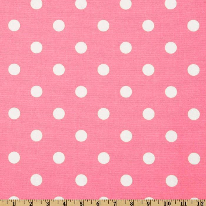 "1/4"" inches White on Pink Dots Poly Cotton Fabric"