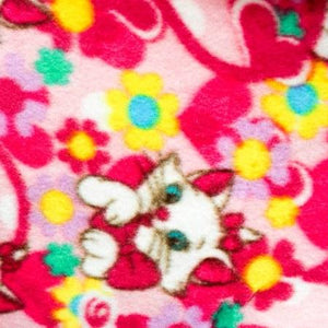 Lovely Cat on Pink Anti Pill Animal Theme Fleece Fabric