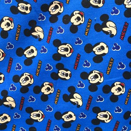 Royal Blue Mickey Mouse Heads 100% Cotton Print Fabric