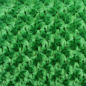 Green Minky Rosebud Fabric
