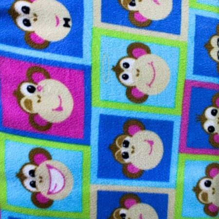 Monkey Faces Patch Anti Pill Animal Theme Fleece Fabric