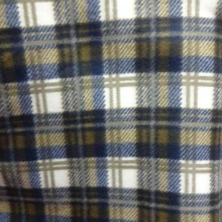 Neutral and Blue Plaid Anti Pill Plaid Fleece Fabric