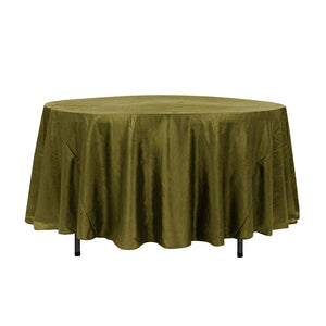 "108"" Olive Crinkle Crushed Taffeta Round Tablecloth"