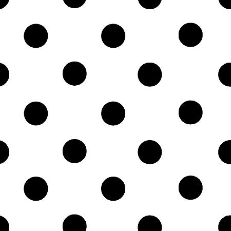 One Inch Black Dots on White Poly Cotton Fabric
