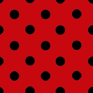 One Inch Black Dots on Red Poly Cotton Fabric