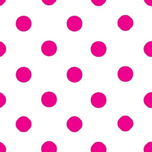 One Inch Fuschia Dots on White Poly Cotton Fabric