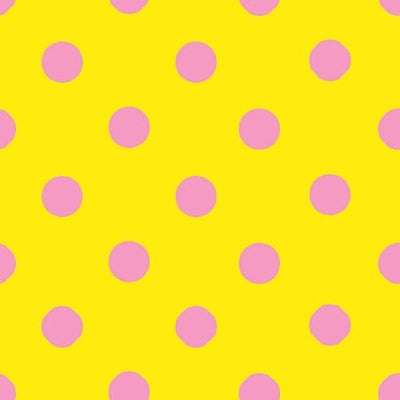One Inch Pink Dots on Yellow Poly Cotton Fabric