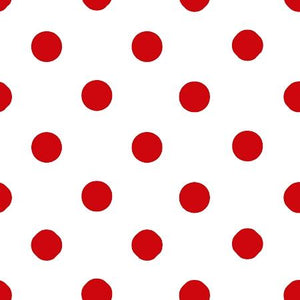 One Inch Red Dots on White Poly Cotton Fabric