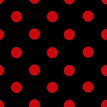 One Inch Red Dots on Black Poly Cotton Fabric
