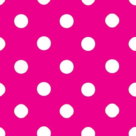 One Inch White Dots on Fuschia Poly Cotton Fabric