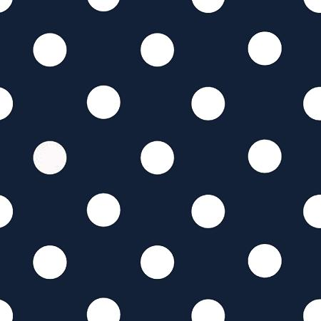 One Inch White Dots on Navy Poly Cotton Fabric