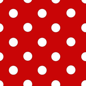 One Inch White Dots on Red Poly Cotton Fabric