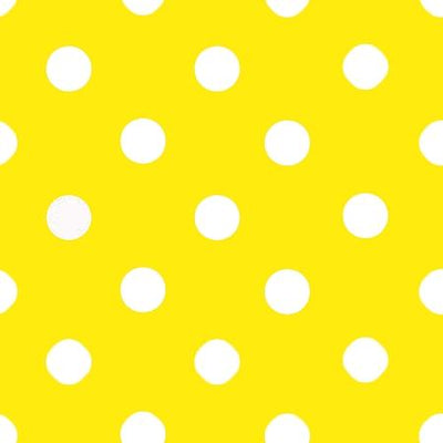 One Inch White Dots on Yellow Poly Cotton Fabric
