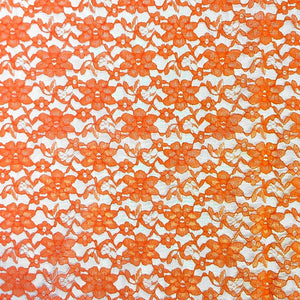 Orange Raschel Lace Fabric