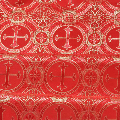 Red Metallic Church Cross Brocade fabric