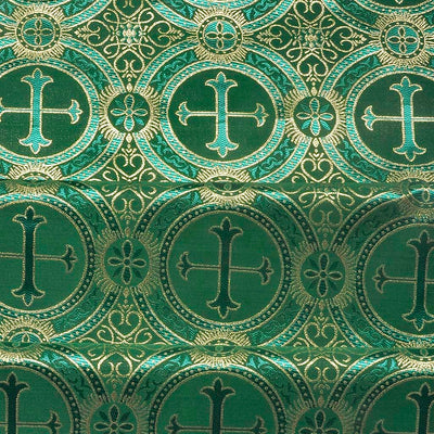 Green Metallic Church Cross Brocade fabric