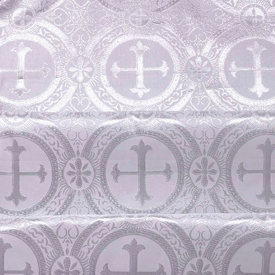 Silver Metallic Church Cross Brocade fabric