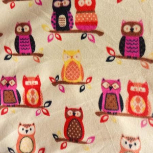 Owl Beige Anti Pill  Fleece Fabric
