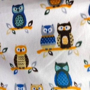 Owl White Anti Pill  Fleece Fabric