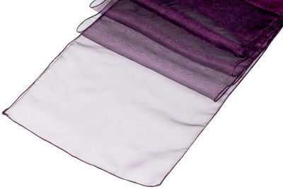 (12 / Pack ) 14 in. x 100 in. Plum Organza Table Runner