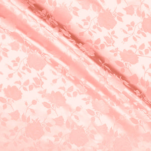 Peach Satin Jacquard Roses Fabric