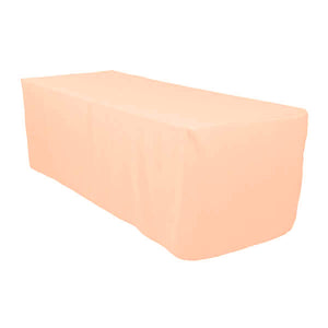 6 Ft Peach Fitted Polyester Rectangular Tablecloth
