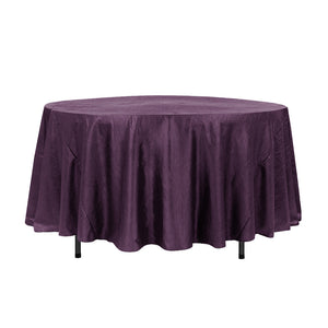 "108"" Plum Crinkle Crushed Taffeta Round Tablecloth"