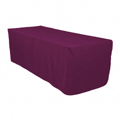 6 Ft Plum Fitted Polyester Rectangular Tablecloth
