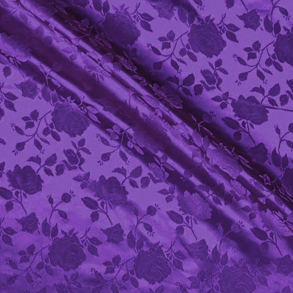 Purple Satin Jacquard Roses Fabric