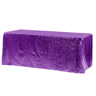 Purple Glitz Sequin Rectangular Tablecloth 90 x 132