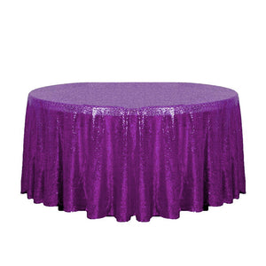 "132"" Purple Glitz Sequin Round Tablecloth"