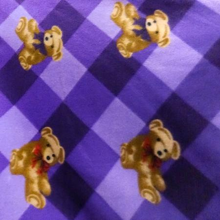 Purple Checkered Bears Anti Pill Animal Theme Fleece Fabric