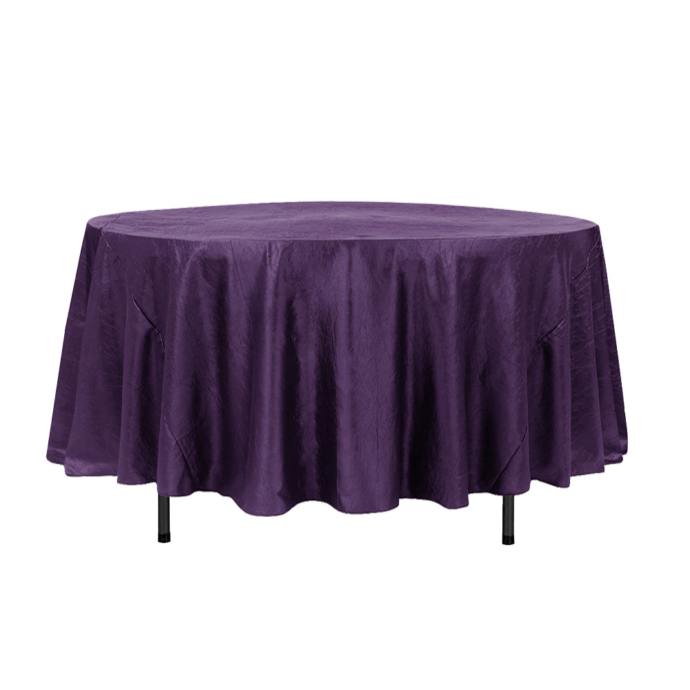 "108"" Purple Crinkle Crushed Taffeta Round Tablecloth"