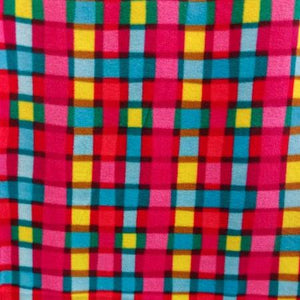 Pink Colorful Trick Squares Anti Pill Fleece Fabric