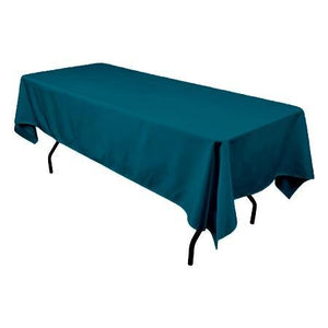"Dark Teal 100% Polyester Rectangular Tablecloth 60"" x 126"""