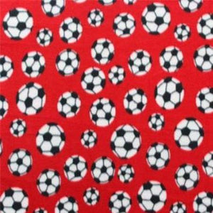 Soccer Red Anti Pill Print Fleece Fabric