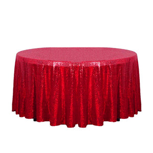 "132"" Red Glitz Sequin Round Tablecloth"