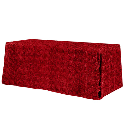 Red Rosette 3D Satin Rectangular Tablecloth 90