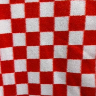Red Racing Checkered Anti Pill Fleece Fabric