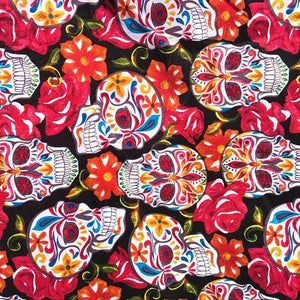 Red Themed Skulls 100% Cotton Fabric