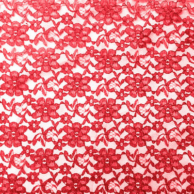 Red Raschel Lace Fabric