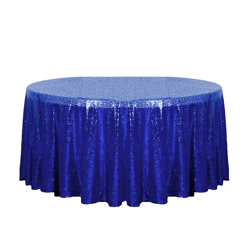 "132"" Royal Blue Glitz Sequin Round Tablecloth"