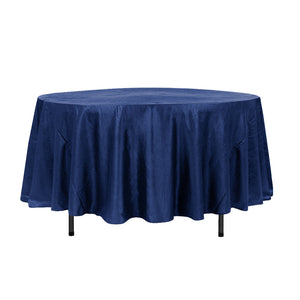 "108"" Royal Blue Crinkle Crushed Taffeta Round Tablecloth"