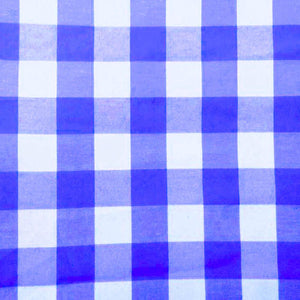 "Royal Checkered Gingham 1"" Poly Cotton Fabric"