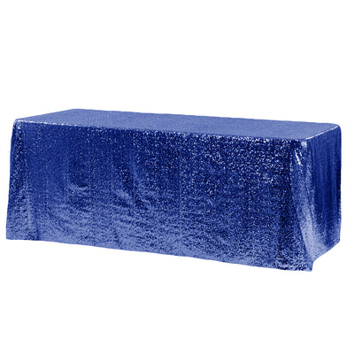 Royal Blue Glitz Sequin Rectangular Tablecloth 90 x 132