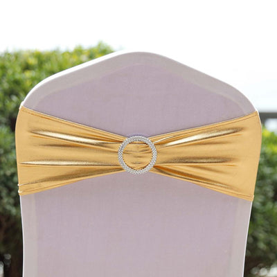 (12 / Pack) Metallic Gold Spandex Chair Sashes With Attached Round Diamond Buckles