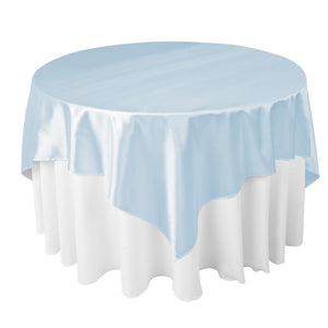 "Baby Blue Satin Overlay Tablecloth 60"" x 60"""