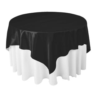 "Black Satin Overlay Tablecloth 60"" x 60"""